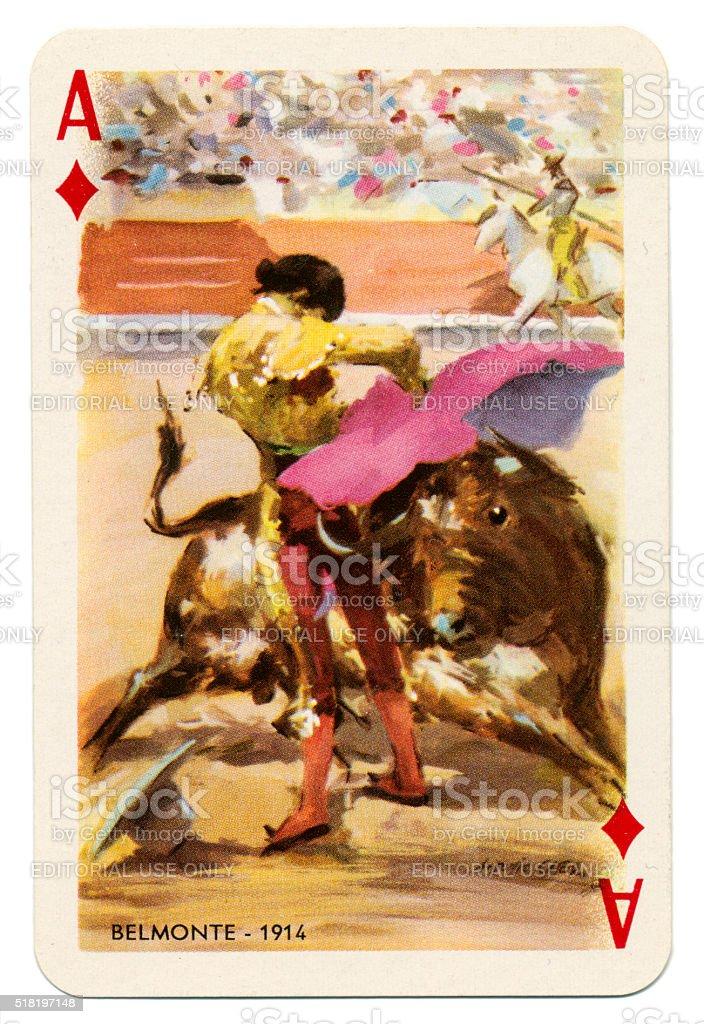 Baraja Taurina bullfighter Ace of Diamonds 1965 stock photo