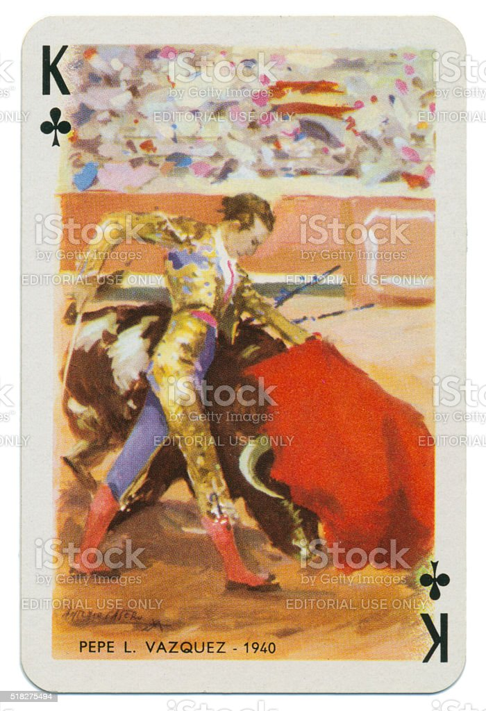 Baraja Taurina bullfighter King of Clubs 1965 stock photo