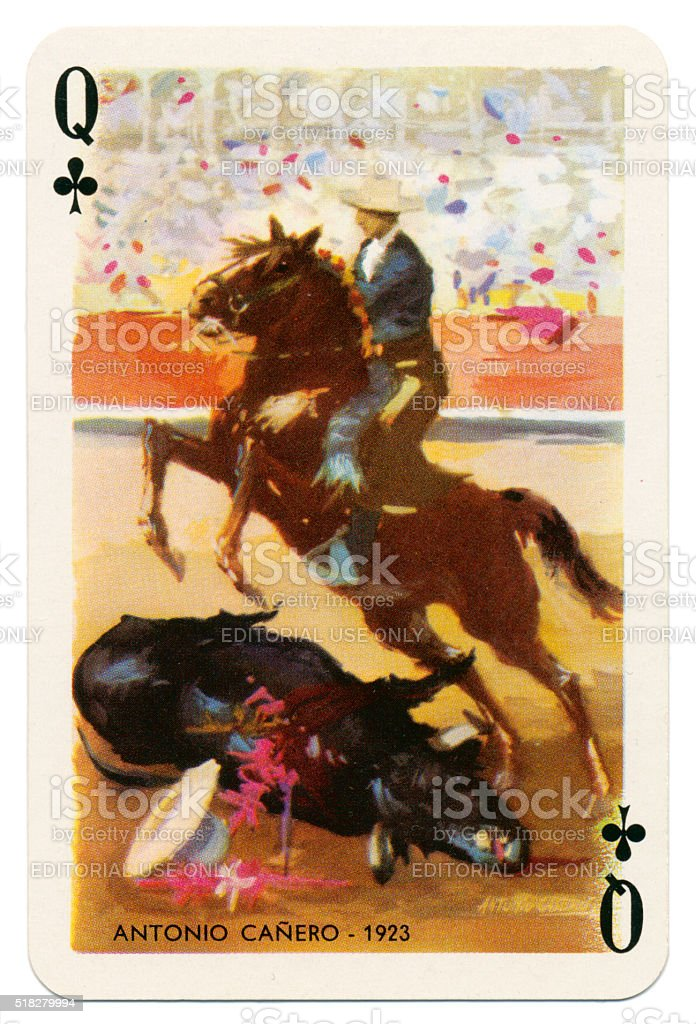 Baraja Taurina bullfighter Queen of Clubs 1965 stock photo