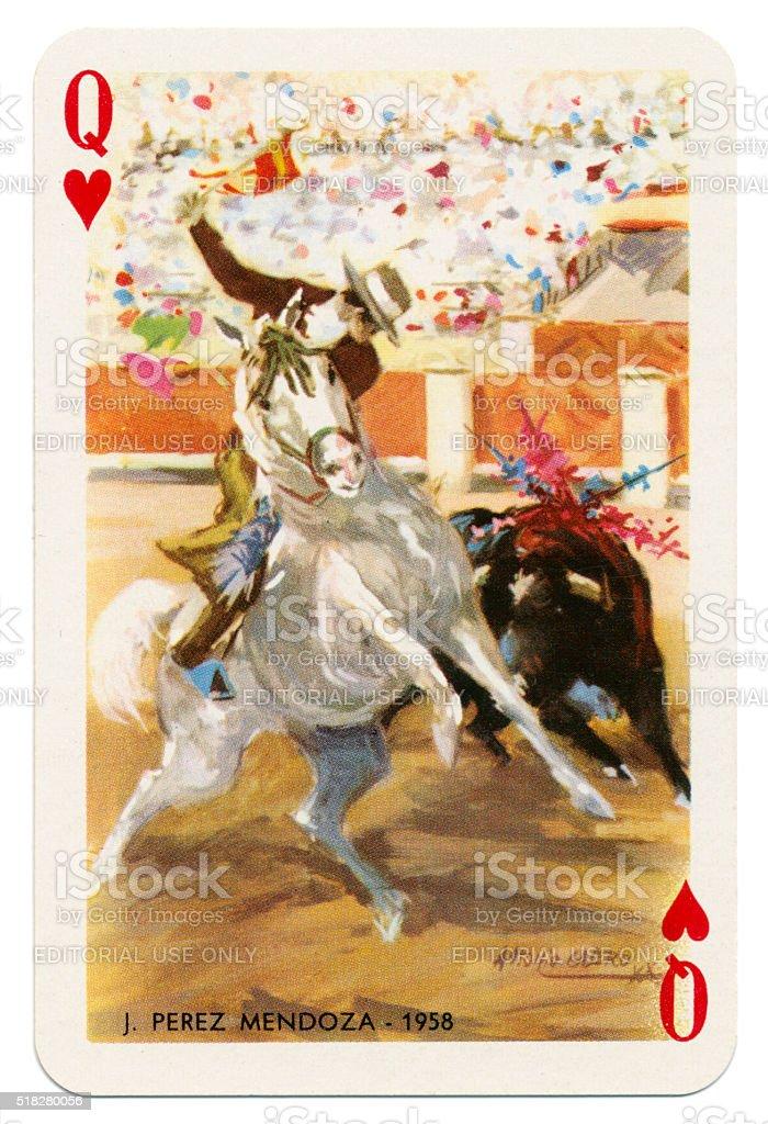 Baraja Taurina bullfighter Queen of Hearts 1965 stock photo