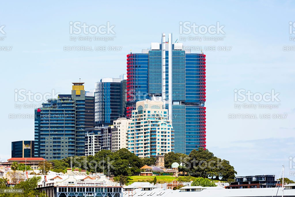 Barangaroo with skyscrapers and park, view from ferry, copy space stock photo