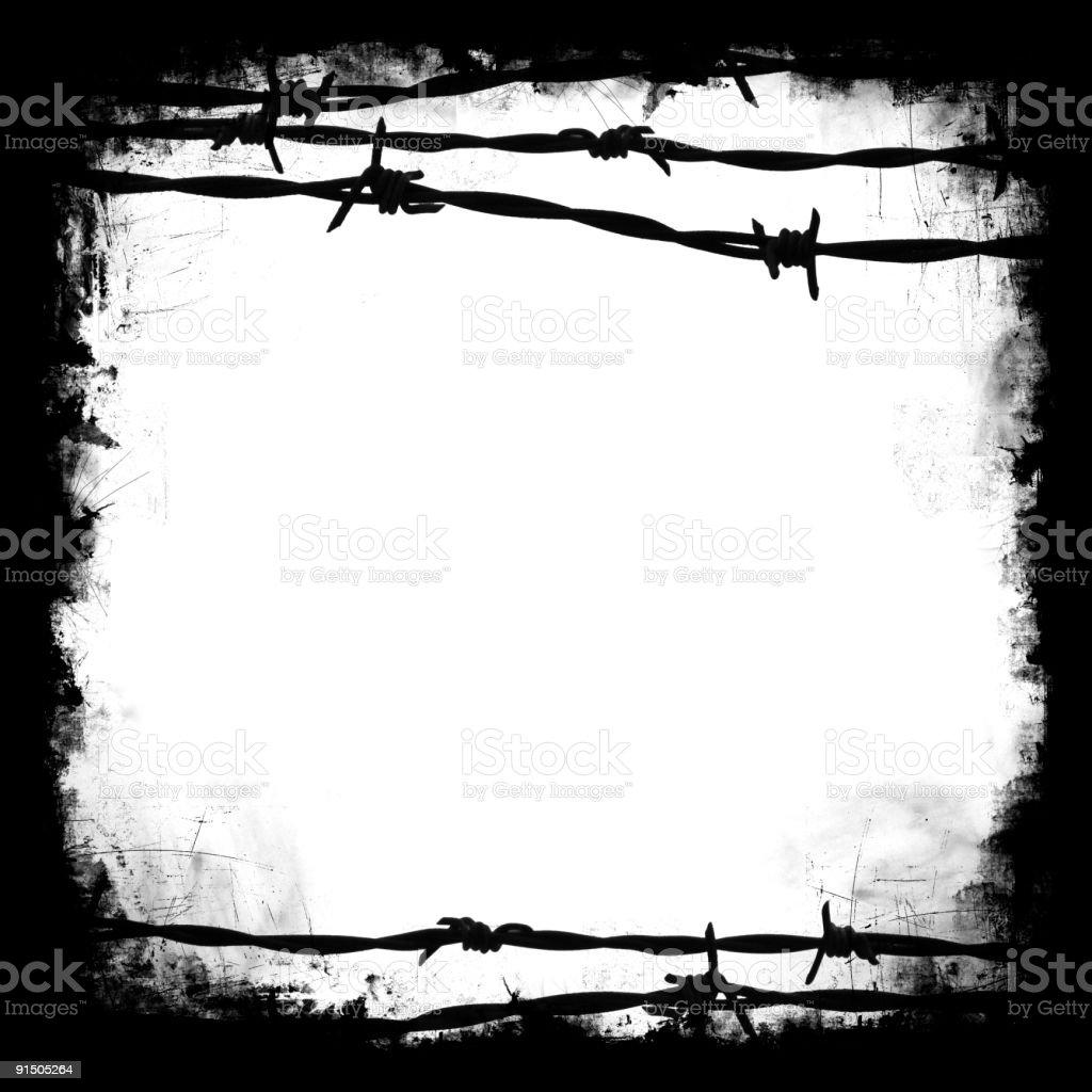 Barb wire frame stock photo
