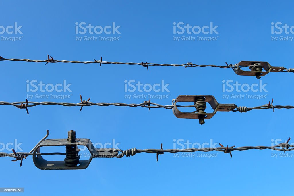 Barb wire with wire tightener royalty-free stock photo