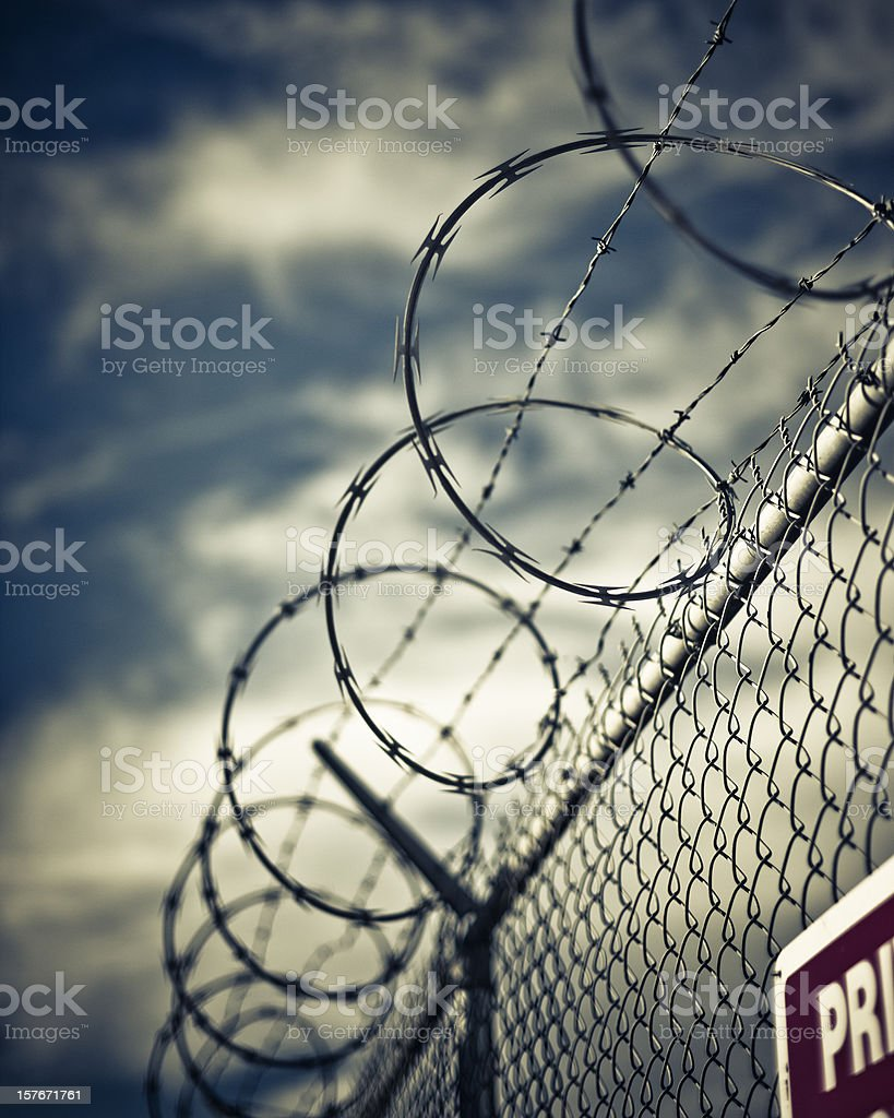 barb wired fence detail stock photo
