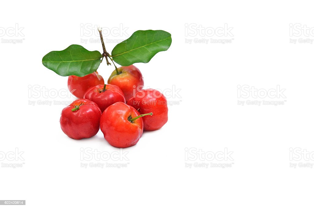 Barbados cherry fruit isolated on white background. stock photo