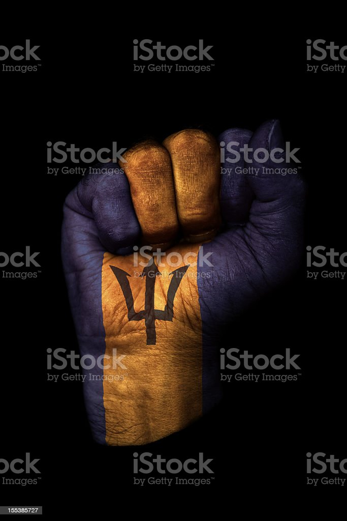 Barbados Fist Flag stock photo