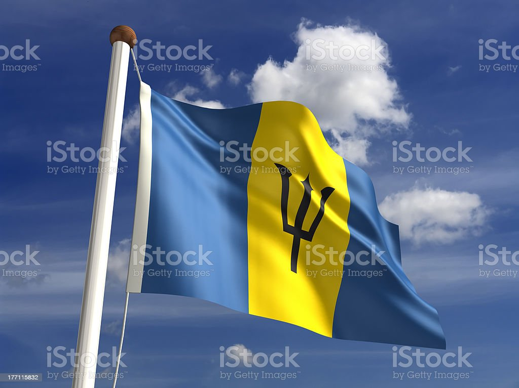 Barbados flag (with clipping path) stock photo