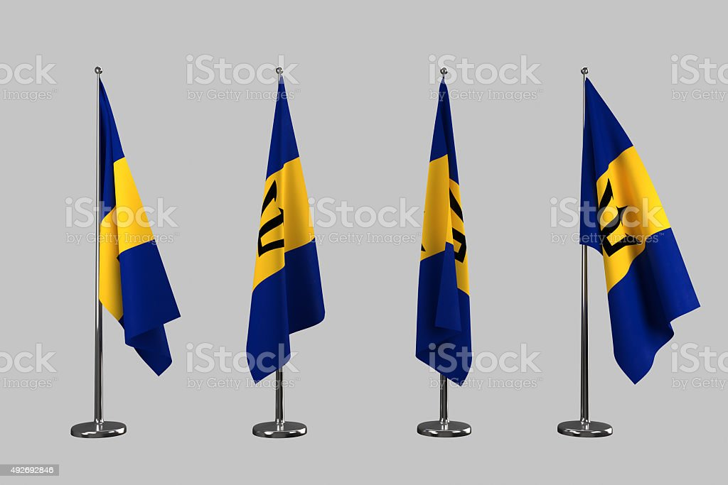 Barbados indoor flags isolate on white background stock photo