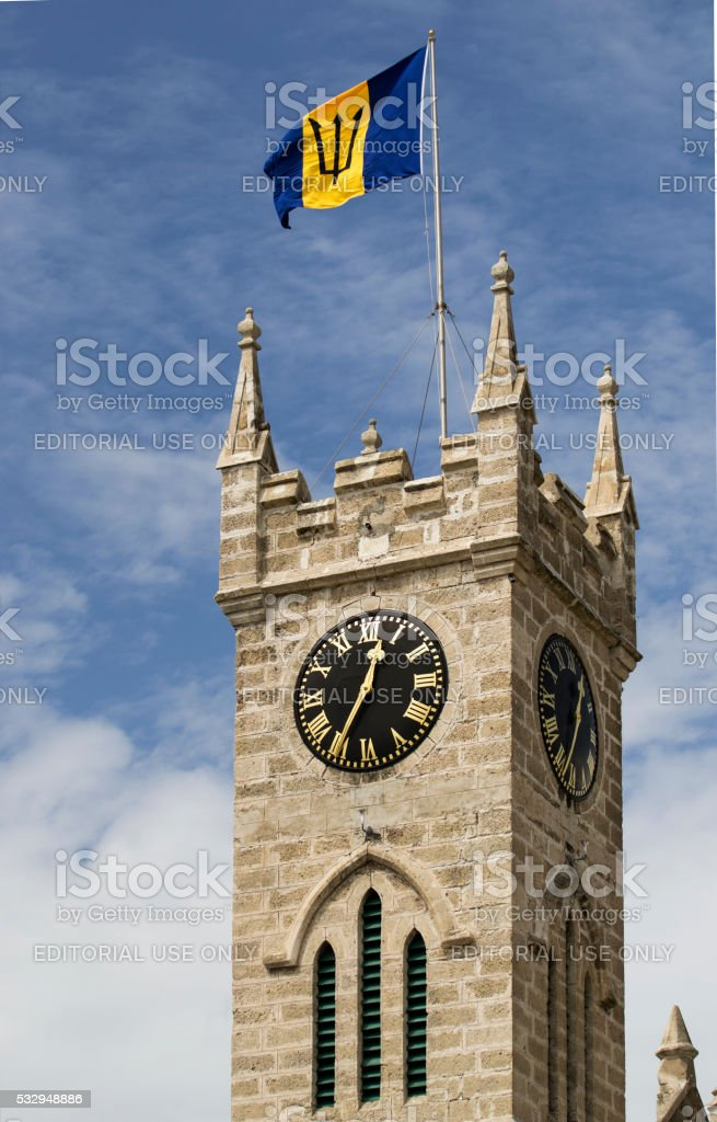 Barbados Parliament Tower and flag stock photo