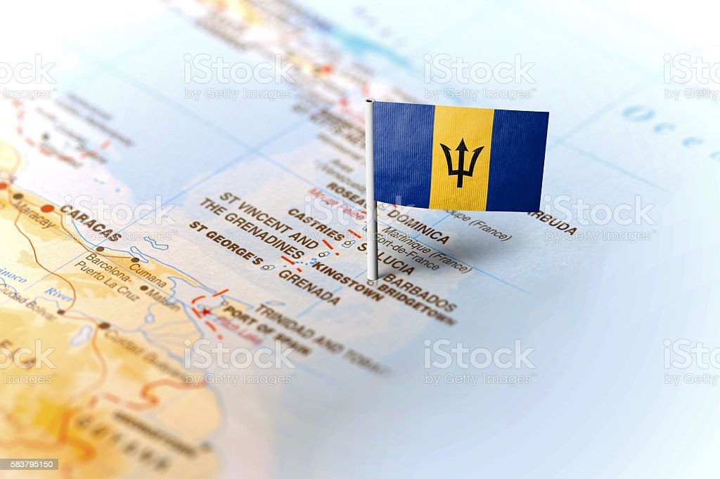 Barbados pinned on the map with flag stock photo