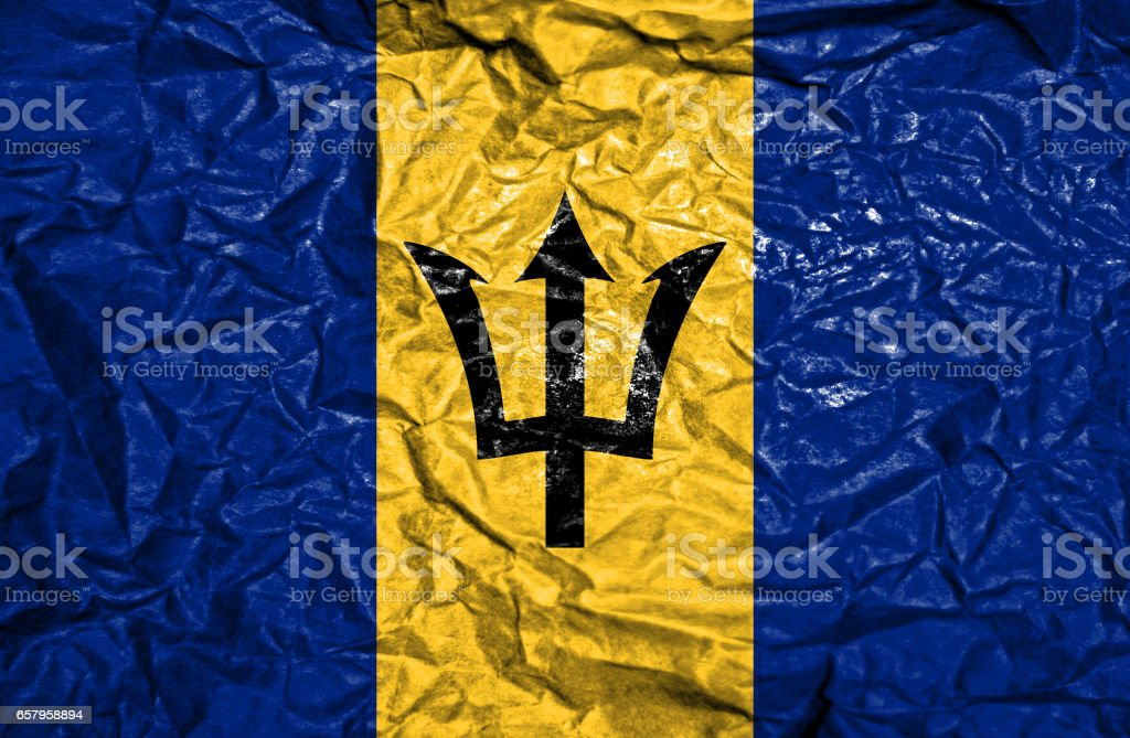 Barbados vintage flag on old crumpled paper background stock photo