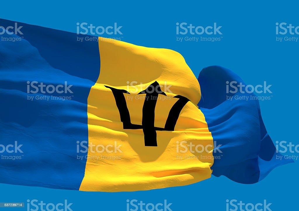 Barbados wave flag HD stock photo