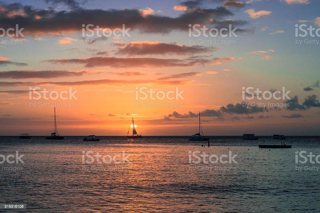 Barbados West Coast Sun Set stock photo