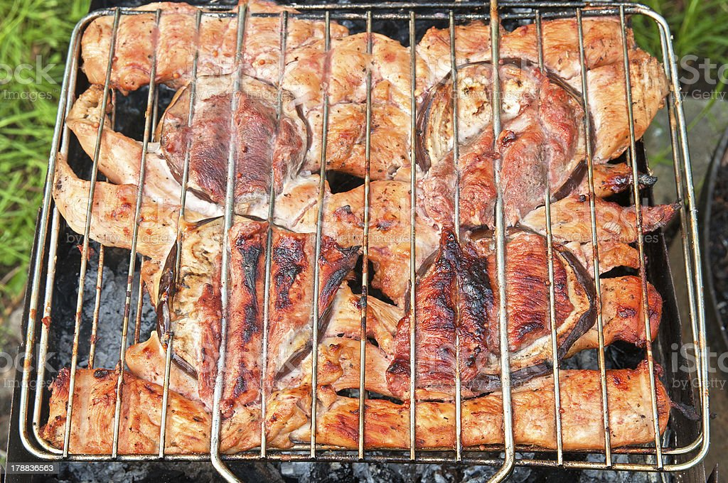 barbague. grilling chicken and eggplants royalty-free stock photo