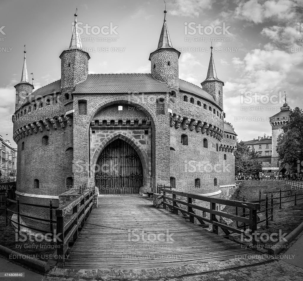 B&W Barbakan fortress in Cracow, Poland stock photo