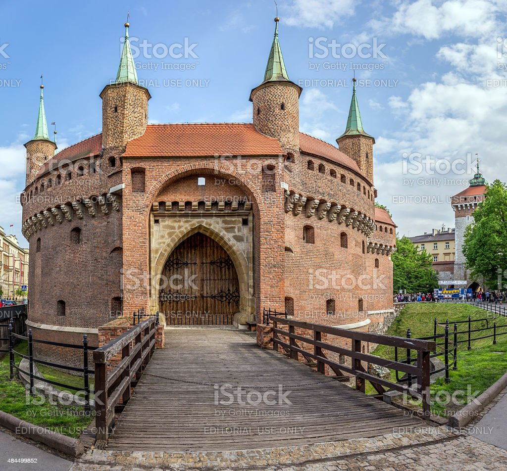 Barbakan fortress in Cracow, Poland stock photo