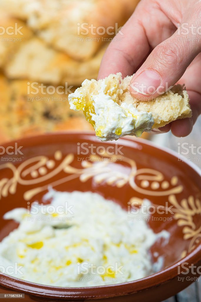 Barbari or Persian bread and strained yogurt stock photo