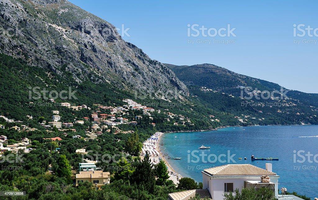 Barbati beach, Corfu island stock photo