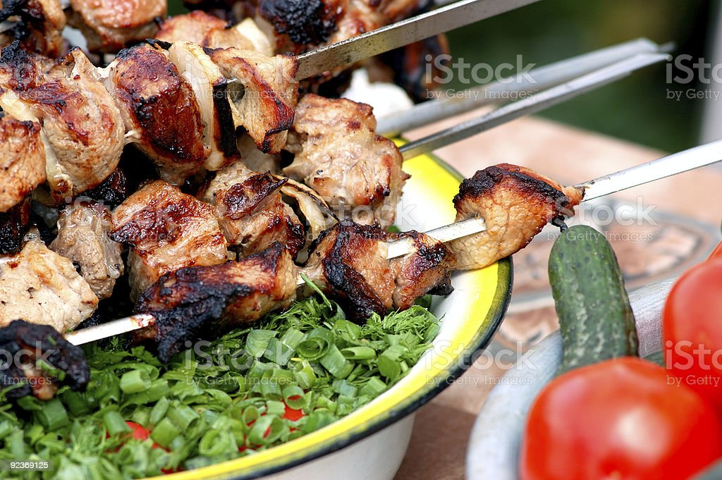 barbecue and vegetables royalty-free stock photo