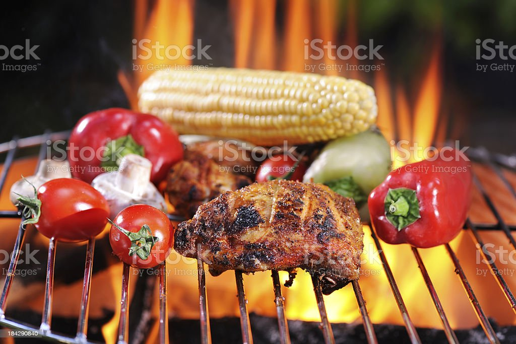 Barbecue Chicken and Vegetables royalty-free stock photo
