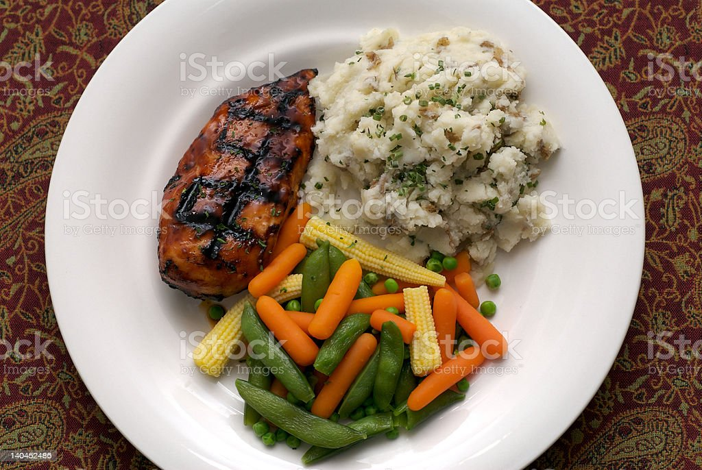 Barbecue Chicken, mashed potato, vegetable dinner royalty-free stock photo