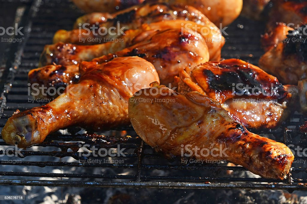 Barbecue chicken meat on grill royalty-free stock photo