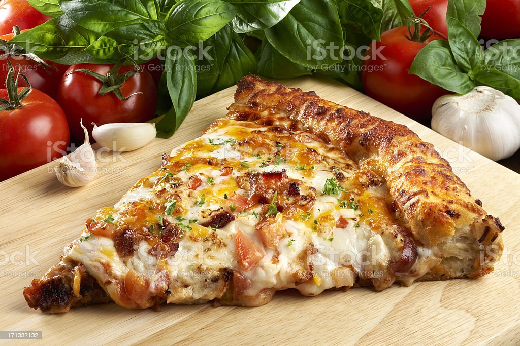 Barbecue Chicken with Bacon PIzza royalty-free stock photo