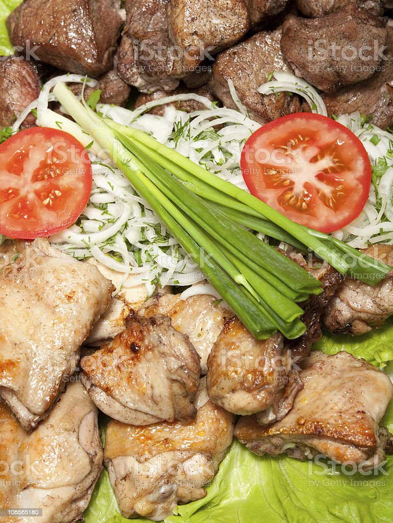 barbecue, chiken and pork meat royalty-free stock photo
