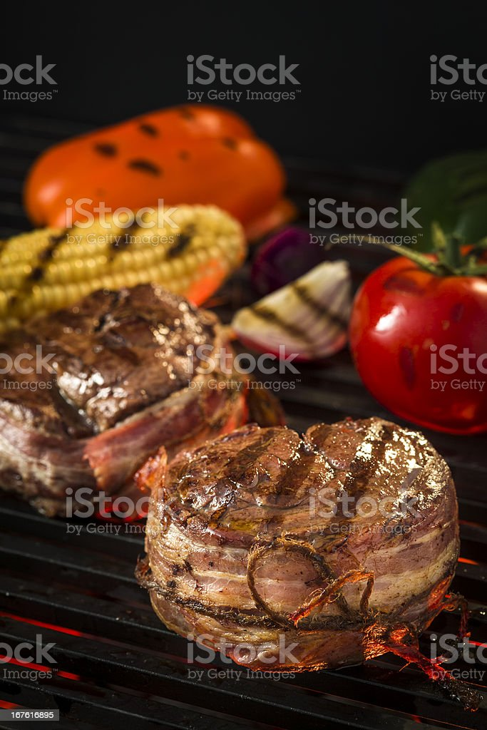 Barbecue Filet Mignon with Vegetables royalty-free stock photo