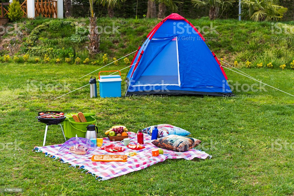 Barbecue Grill and tent stock photo