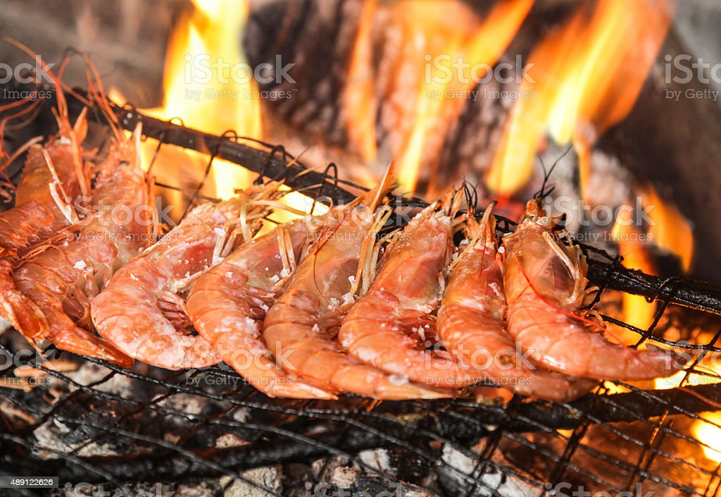 Barbecue grill seafood stock photo