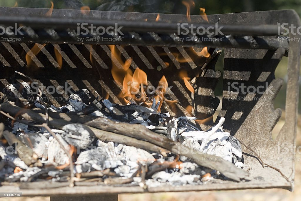 Barbecue Grill with Fire - Close up royalty-free stock photo