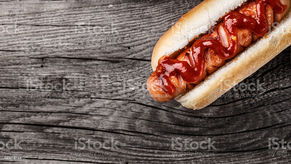 Barbecue grilled hot dog stock photo