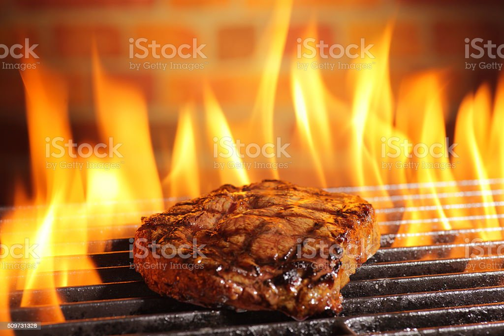 Barbecue grilled steak stock photo
