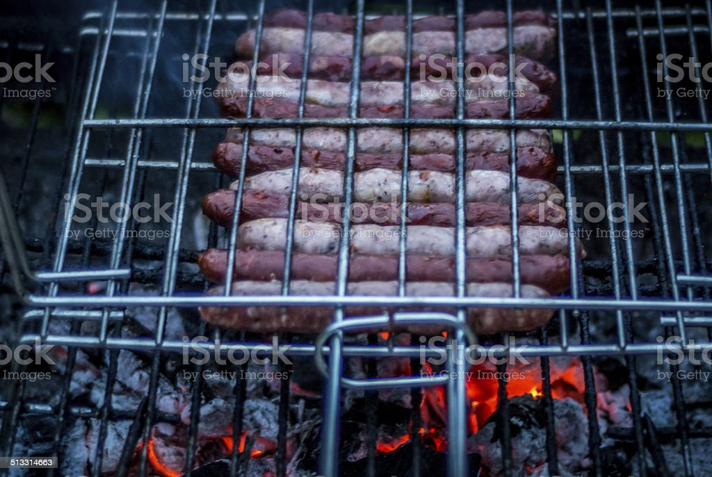 Barbecue, Grilling at summer, Sausages stock photo