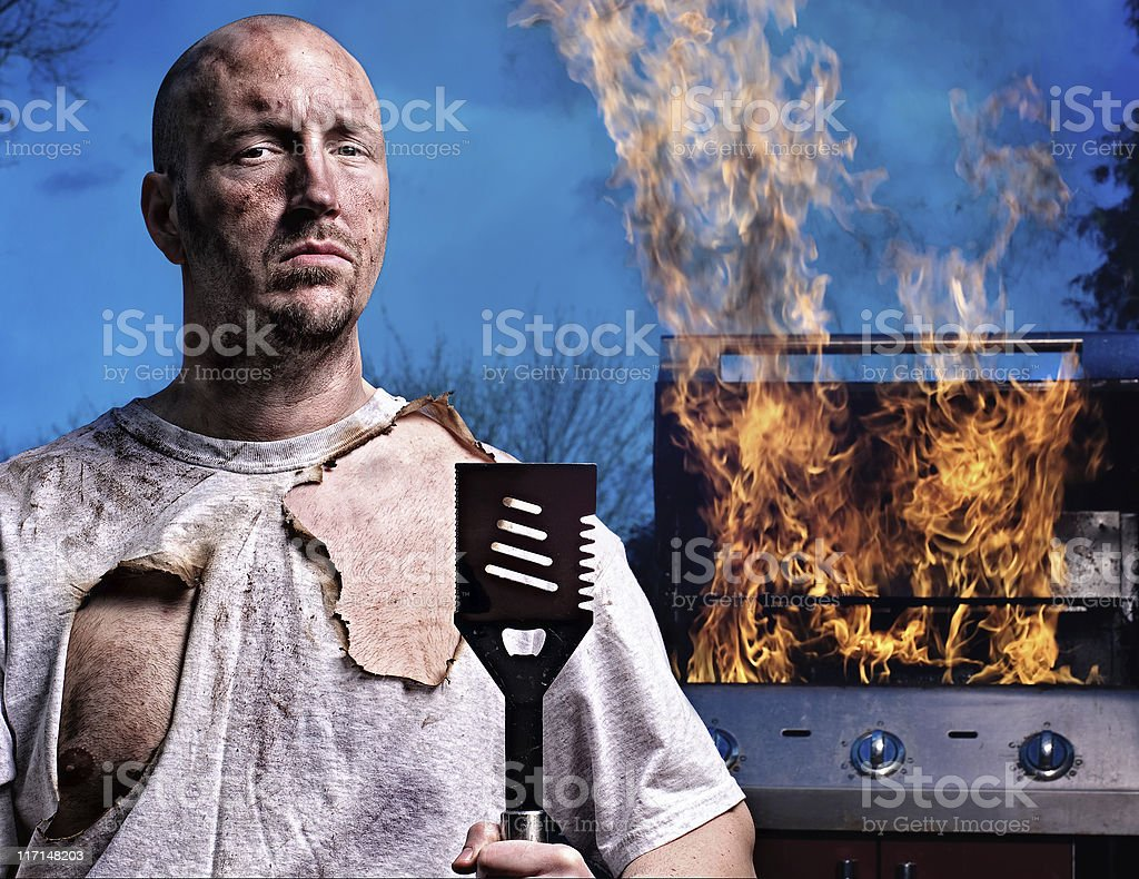 Barbecue Guy - Not Happy stock photo