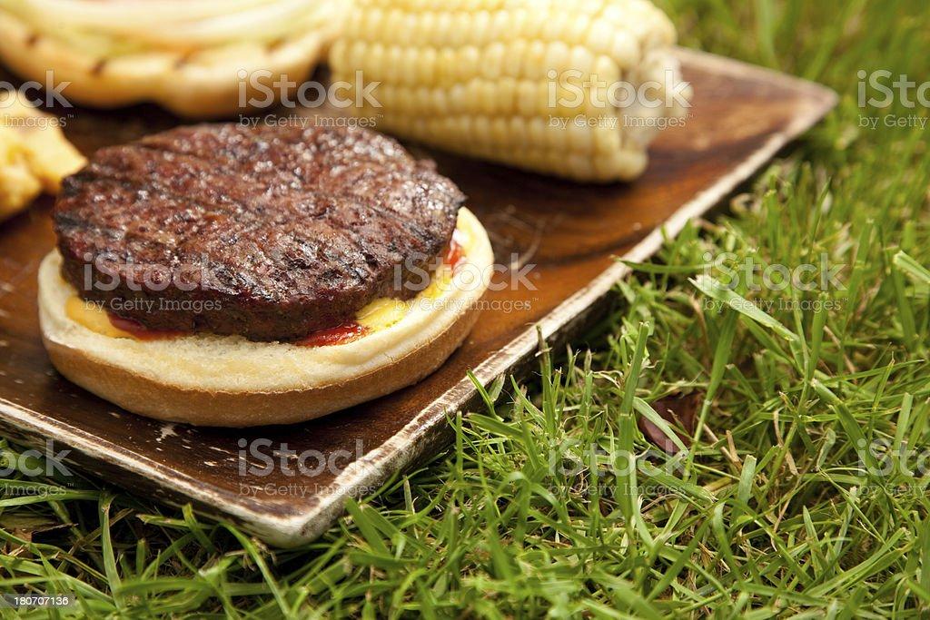 Barbecue Hamburger Outdoors royalty-free stock photo