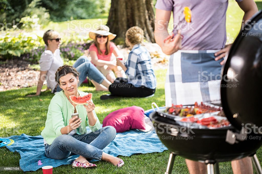 Barbecue in the park stock photo