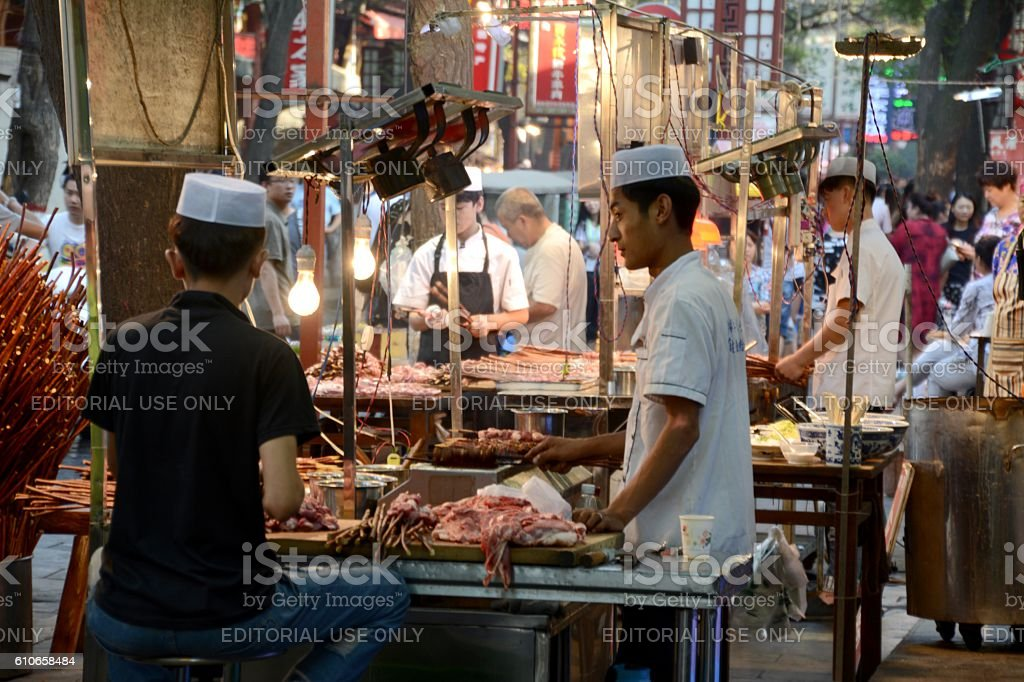 Barbecue lamb stalls in the muslim quarter of Xi'an, Shaanxi stock photo