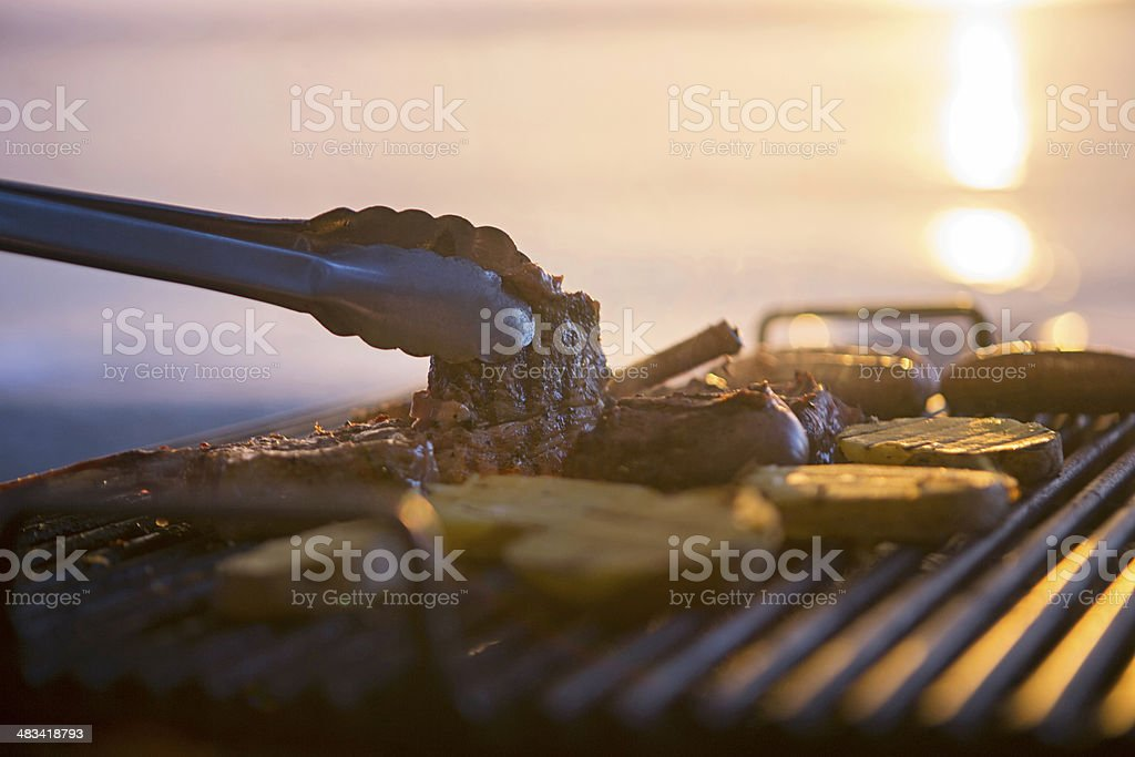 Barbecue on beach stock photo