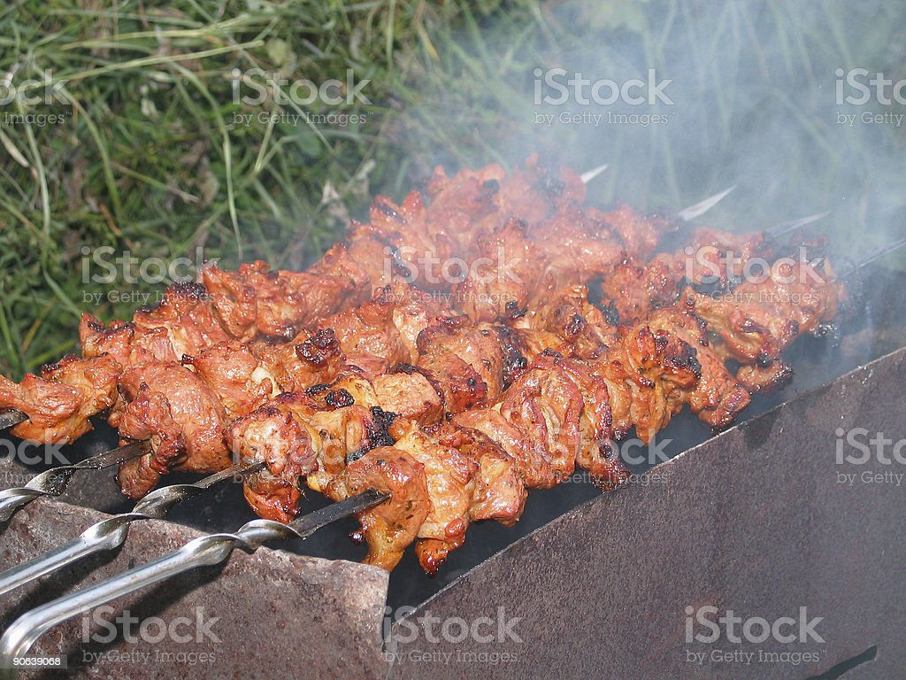 Barbecue on spit royalty-free stock photo