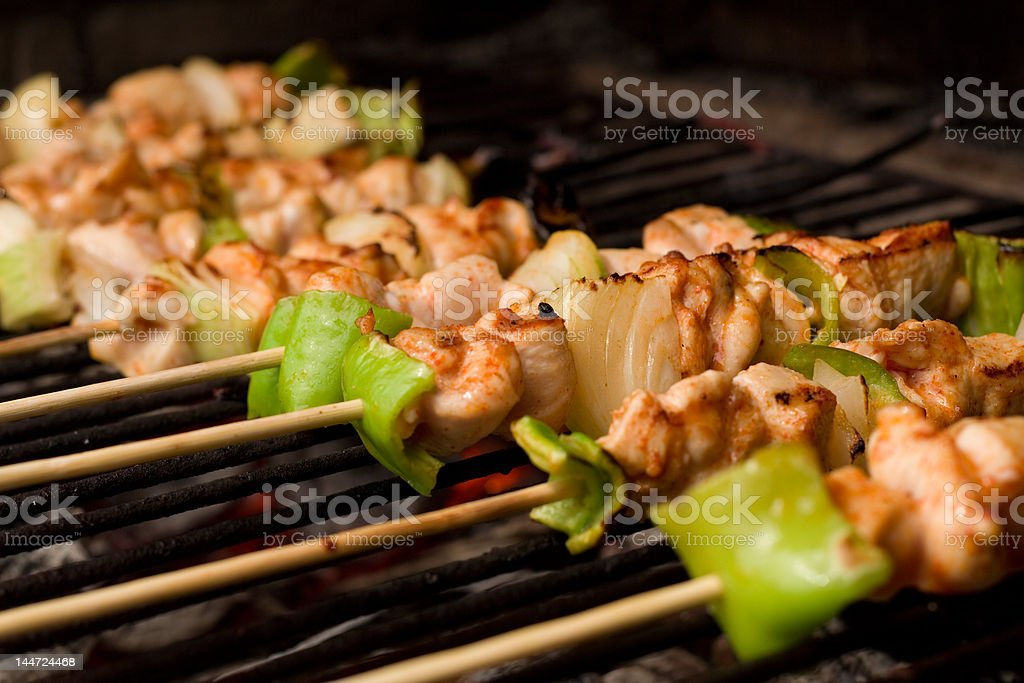 Barbecue on wooden sticks royalty-free stock photo