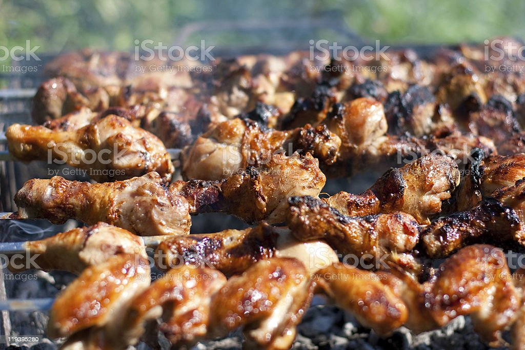 barbecue or fried chicken and pork meat royalty-free stock photo