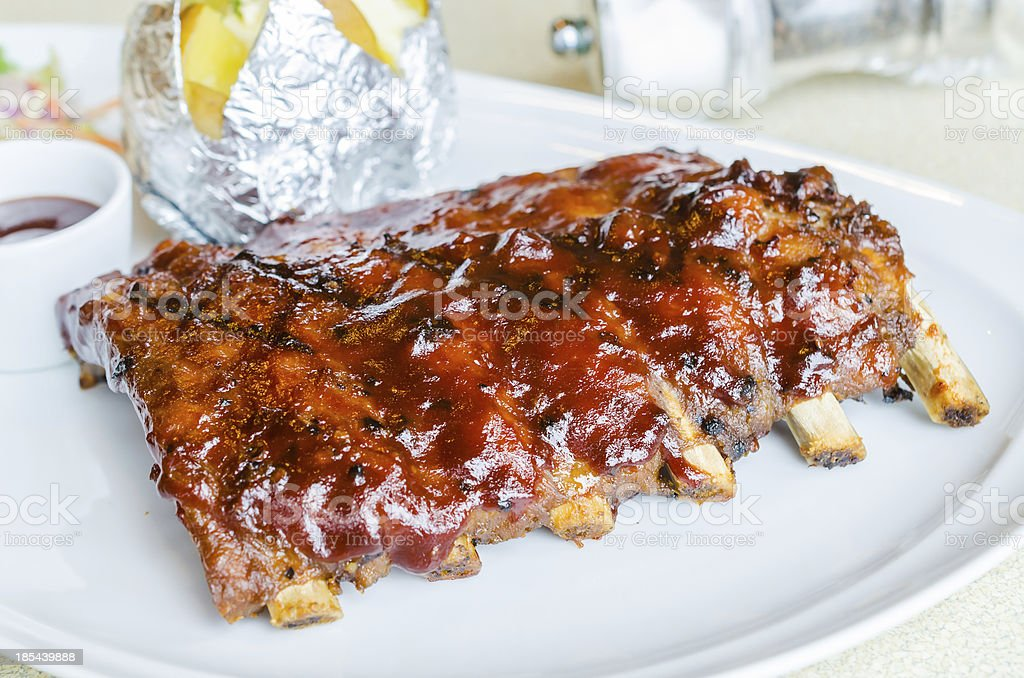 barbecue pork spareribs stock photo