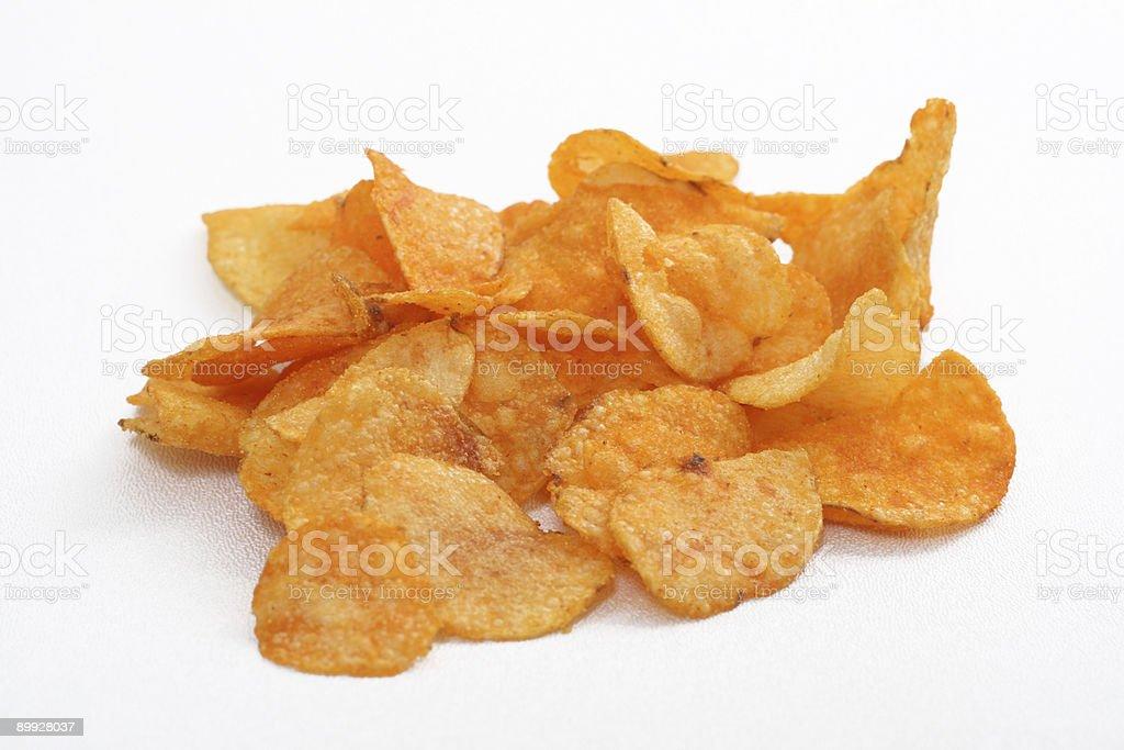 Barbecue Potato Chips on White Background stock photo