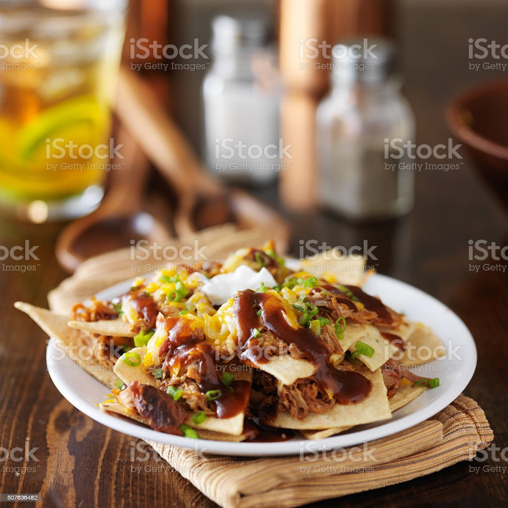 barbecue pulled pork nachos stock photo