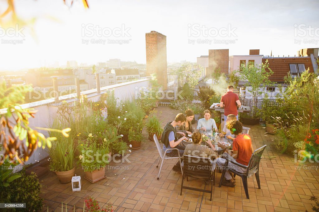 barbecue, roof garden, medium group of people, summer, party, stock photo