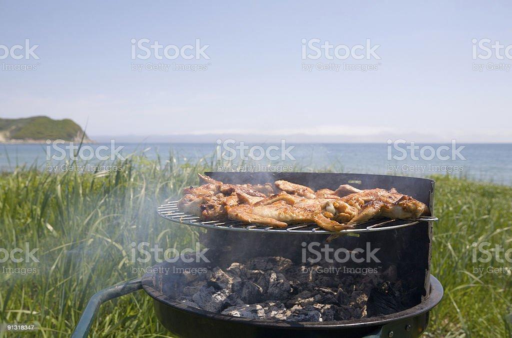 barbecue & sea royalty-free stock photo