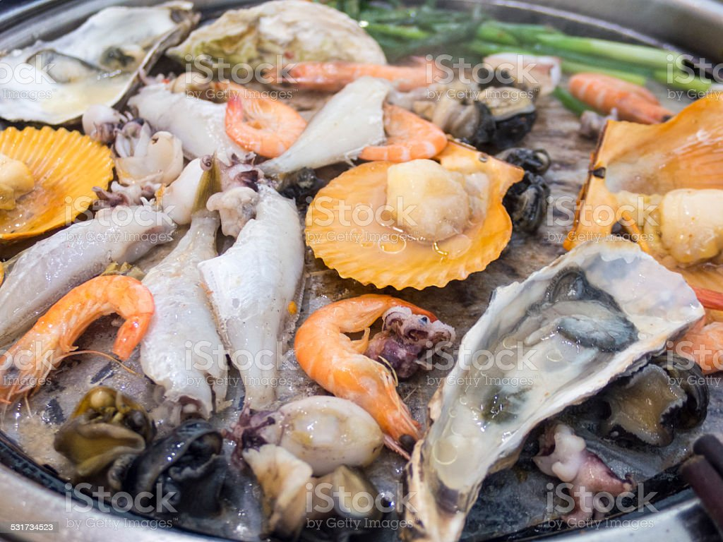 barbecue seafood stock photo