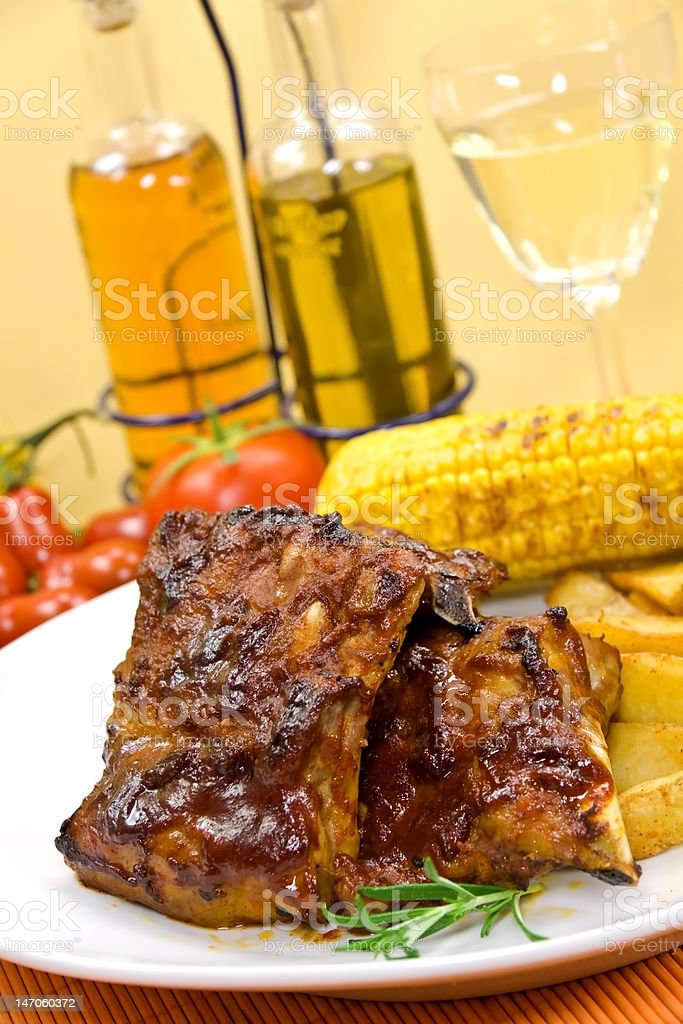 barbecue spare ribs from a grill royalty-free stock photo